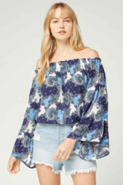 entro  Paisley Print Off Shoulder Bell Sleeve Top - Product Mini Image