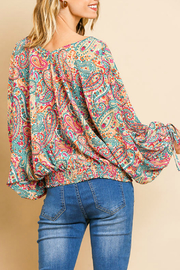Umgee  Paisley Print Top - Front full body