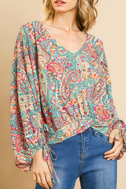 Umgee  Paisley Print Top - Front cropped