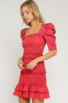 Olivaceous  Paisley Puff Sleeve Dress - Product List Image
