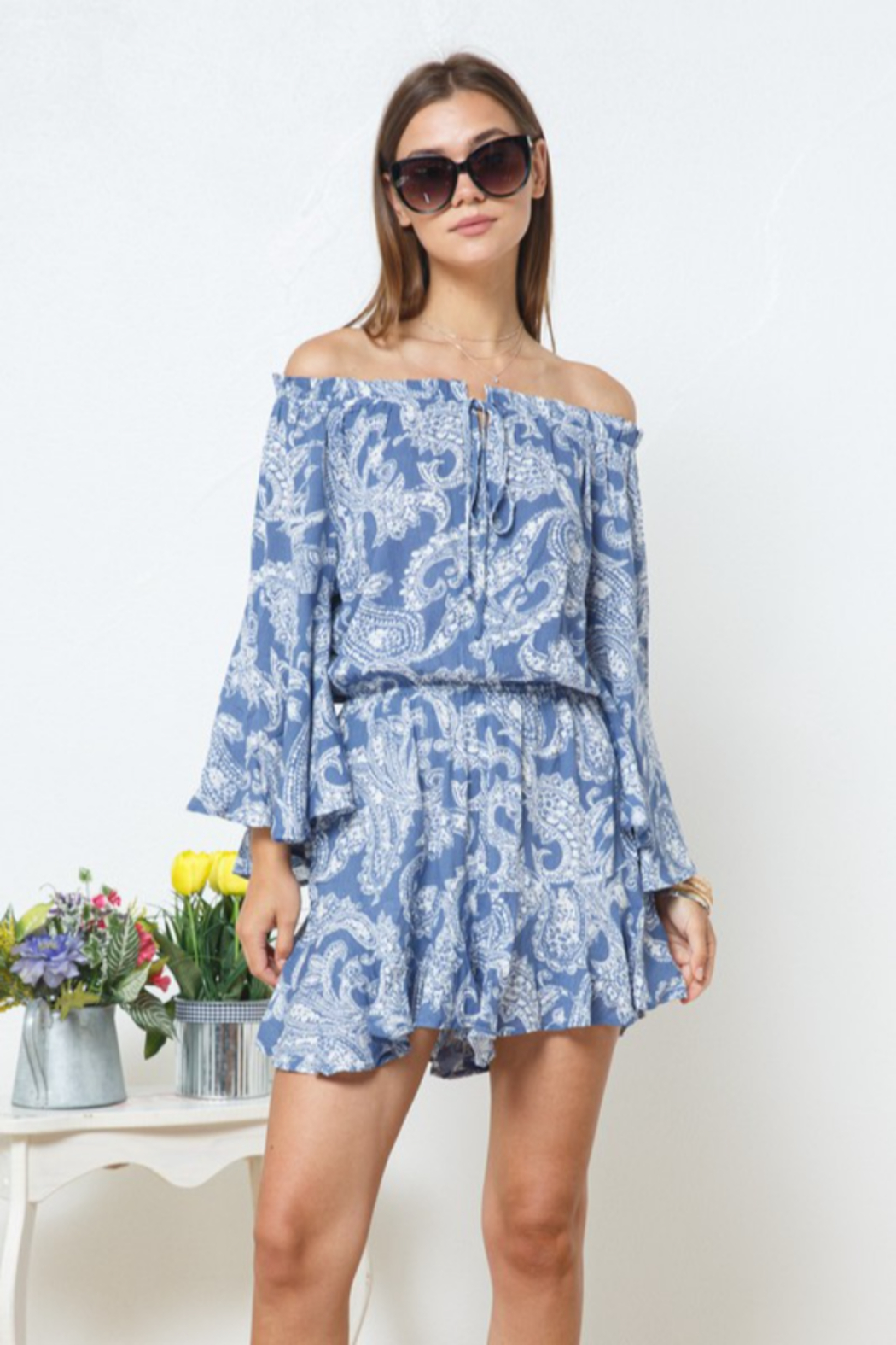 Blue B Paisley Romper - Front Cropped Image