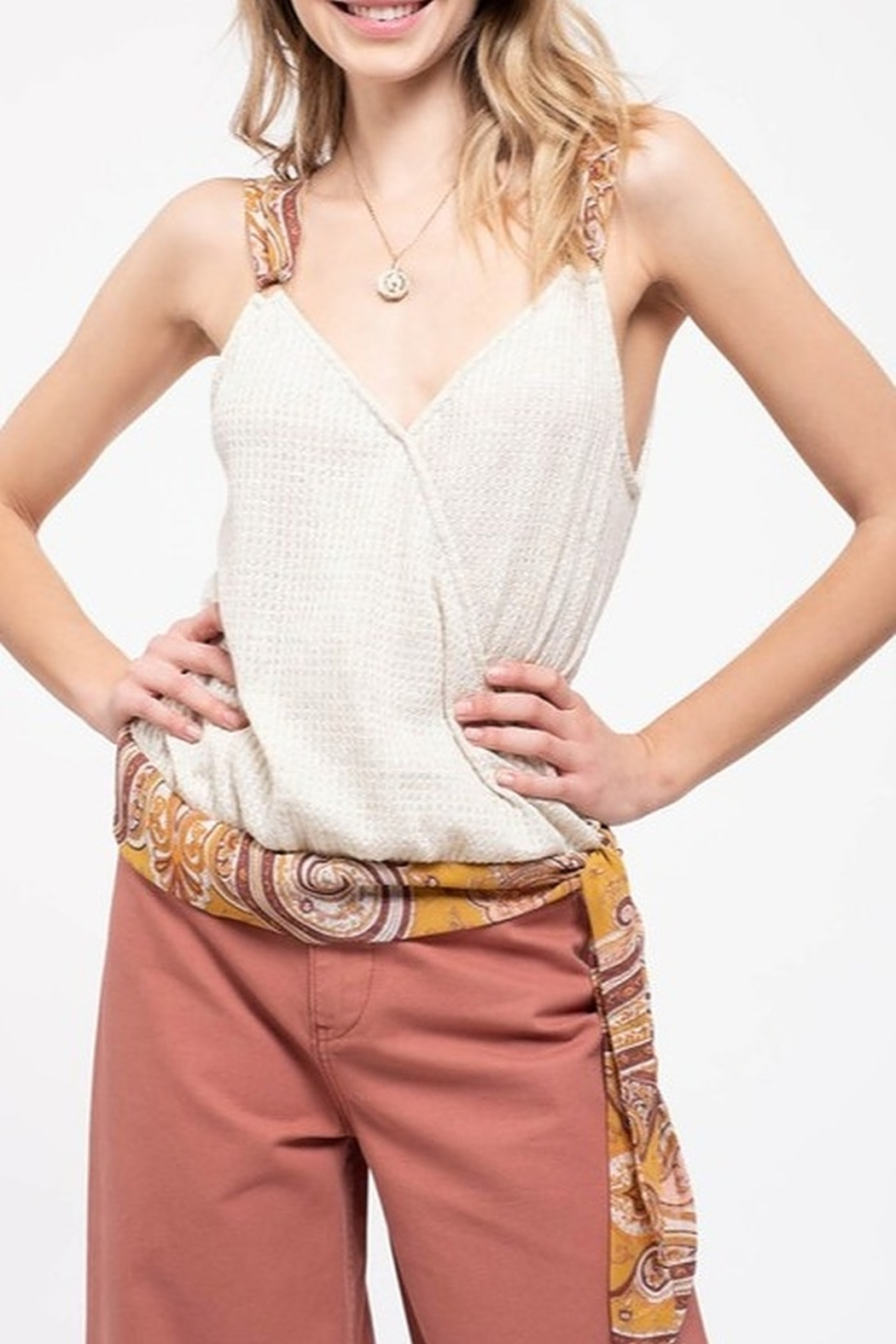 blu Pepper  Paisley Strap Tank - Front Cropped Image