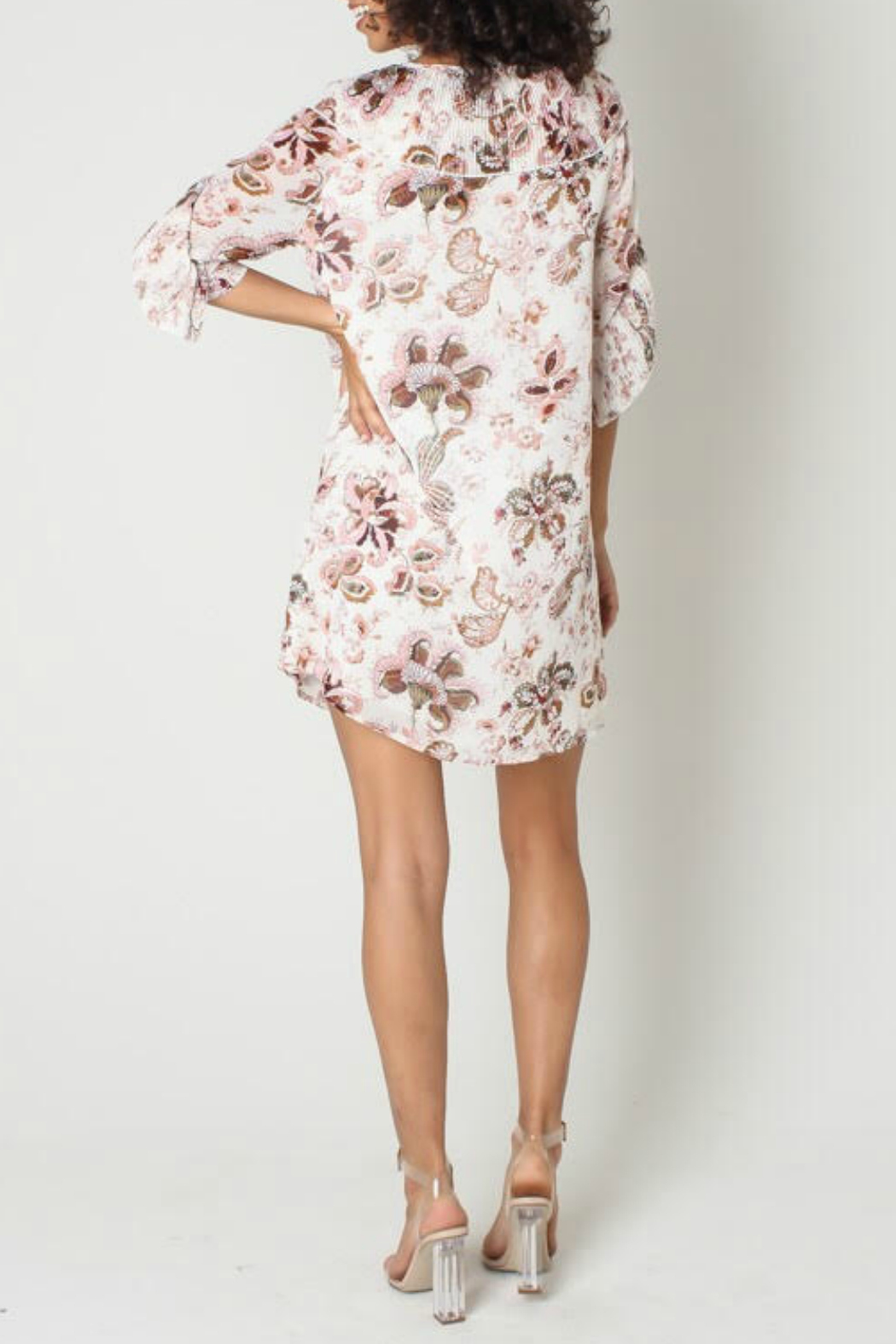 Funky Soul Paisley Tie Front Ruffle Sleeve Dress - Front Full Image