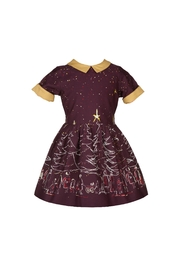 1940s Children's Clothing: Girls, Boys, Baby, Toddler Plum Christmas Trees Dress $82.00 AT vintagedancer.com