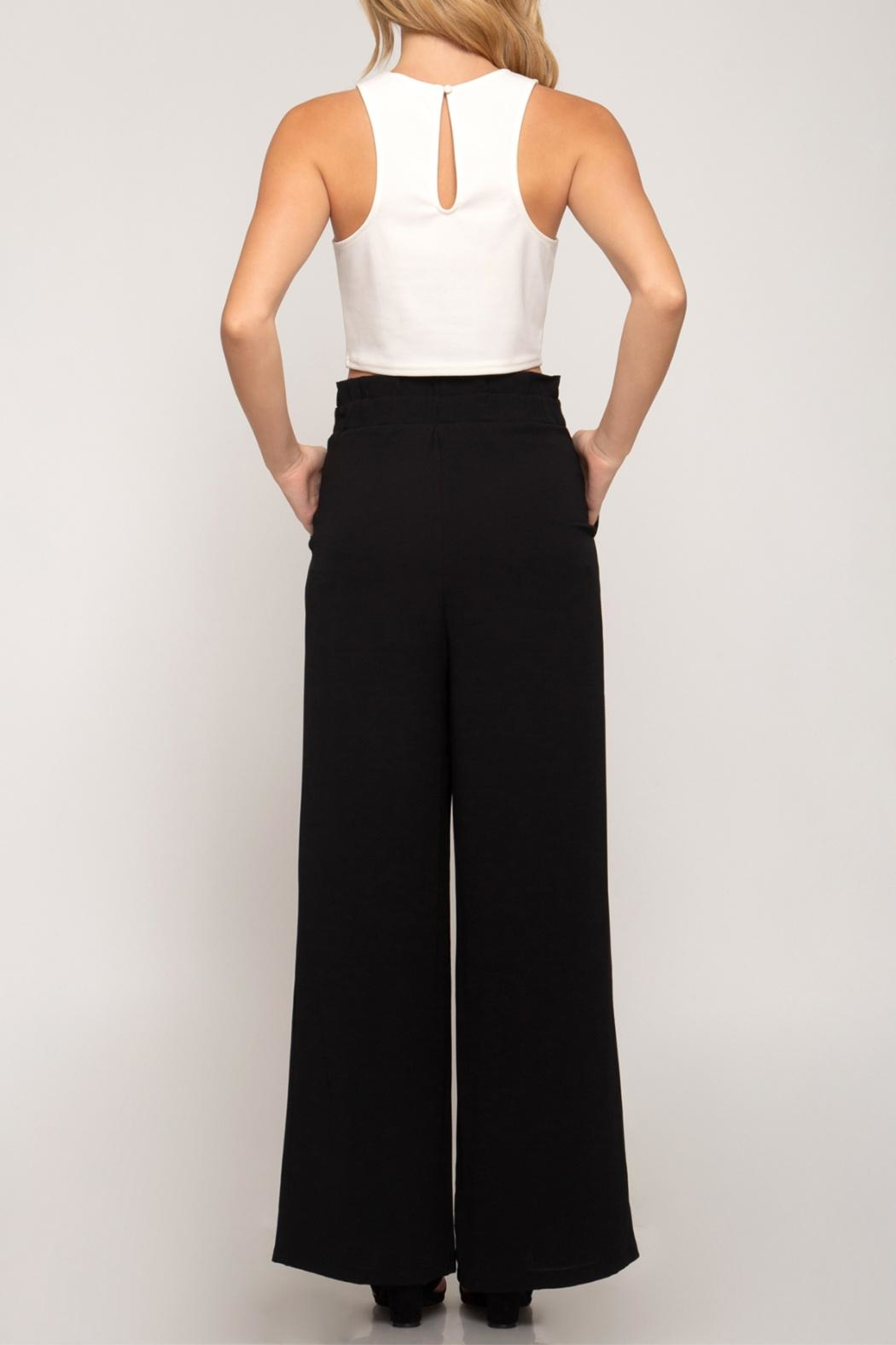 She + Sky Palazzo Paperbag Pants - Side Cropped Image