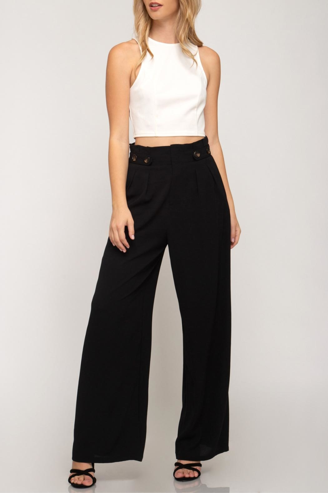 She + Sky Palazzo Paperbag Pants - Front Full Image