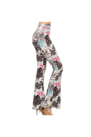Leggings Depot Palazzos with Panache - Gray Abstract Floral - Product Mini Image