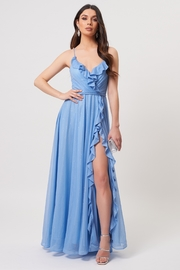 Forever Unique Pale Blue Ruffle Detail Maxi Dress With Slit - Product Mini Image