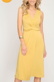 Lyn -Maree's Pale Mustard Knit Midi - Front cropped