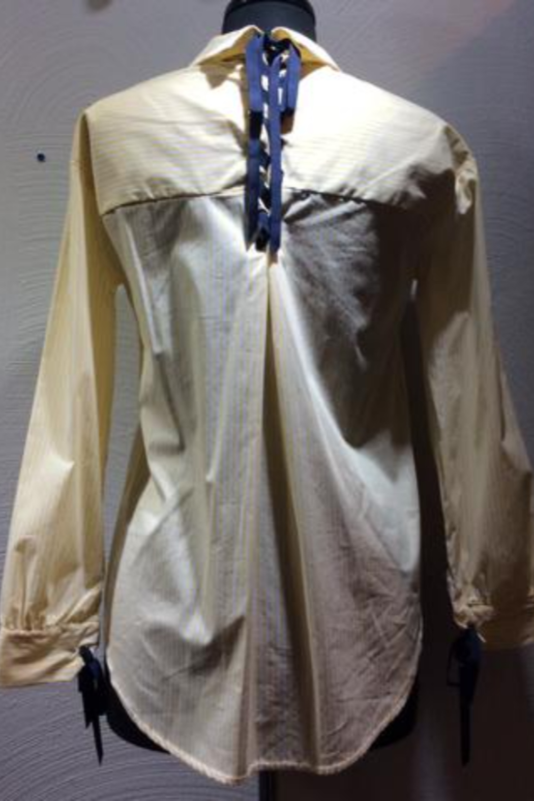 Normcore Pale yellow stripe oxford style with navy blue ribbon accents - Front Full Image