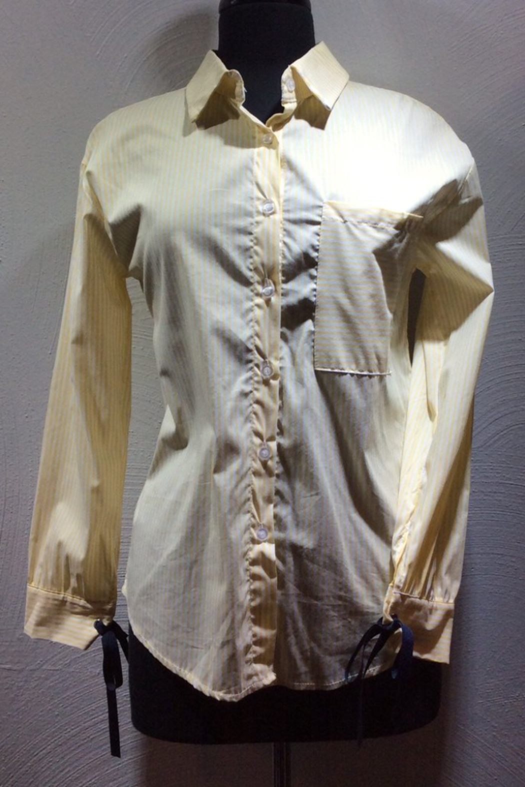 Normcore Pale yellow stripe oxford style with navy blue ribbon accents - Main Image