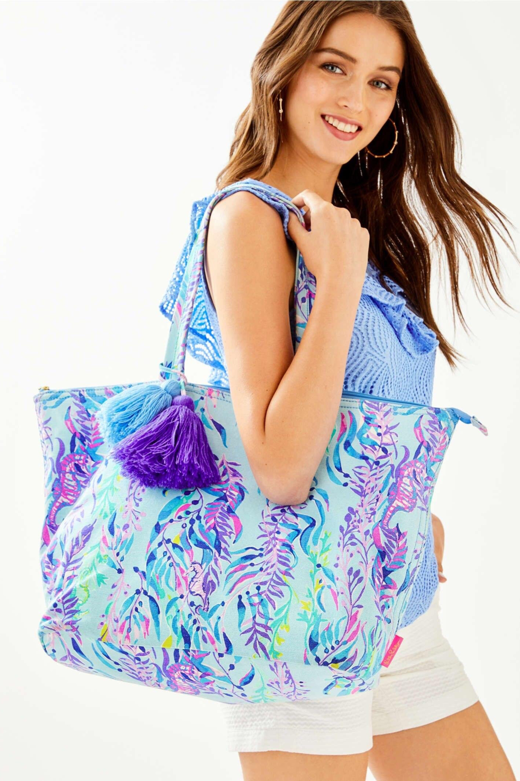 Lilly Pulitzer  Palm Beach Zip-Up Tote - Back Cropped Image