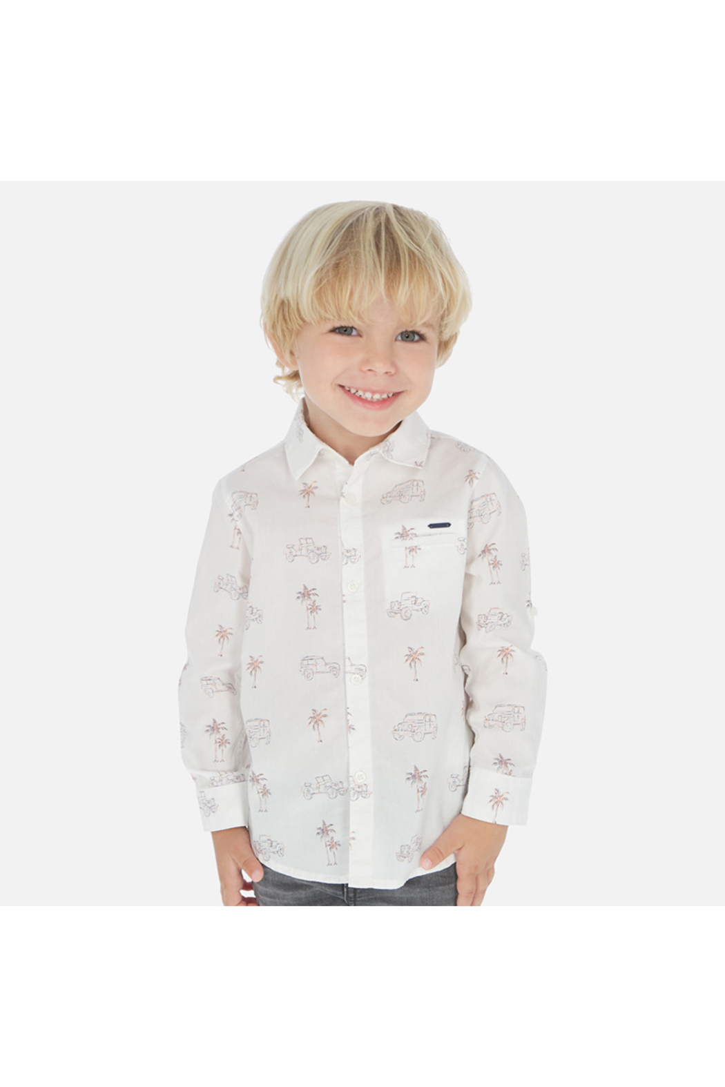 Mayoral Palm Jeep Long Sleeve Shirt - Front Cropped Image