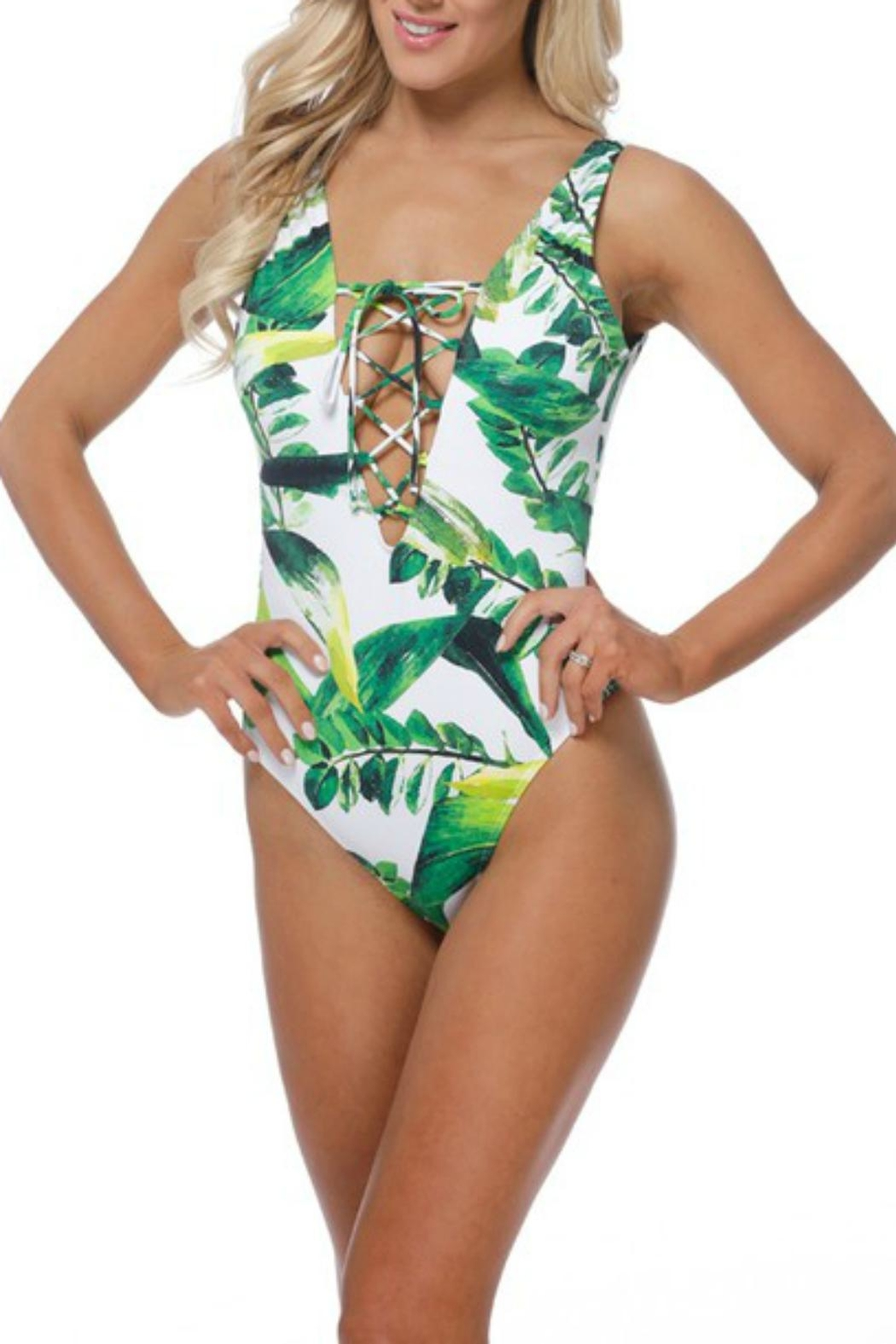 Pretty Little Things Palm Lace-Up Swimsuit - Main Image