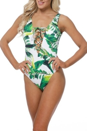 Pretty Little Things Palm Lace-Up Swimsuit - Front cropped