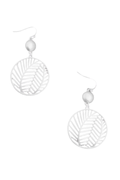 Fame Accessories Palm Leaf Circle Earrings - Alternate List Image