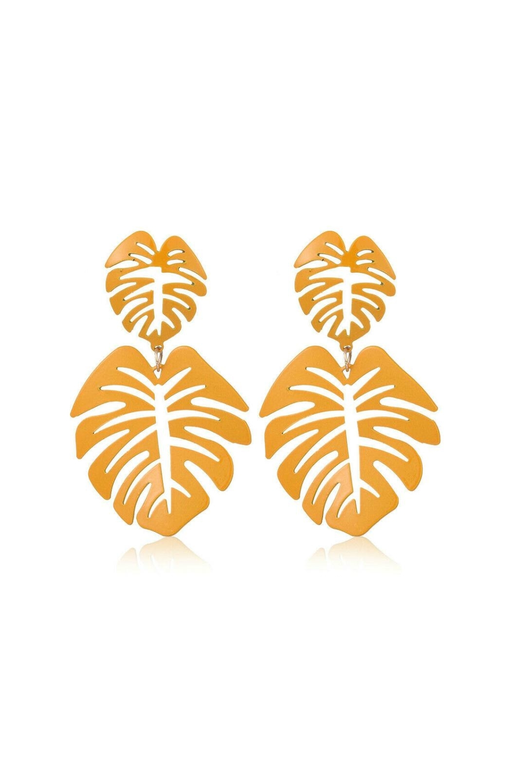 Mimi's Gift Gallery Palm Leaf Earrings - Front Full Image