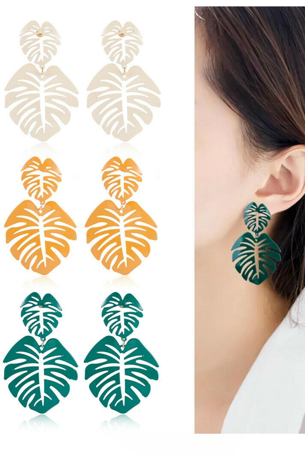 Mimi's Gift Gallery Palm Leaf Earrings - Main Image