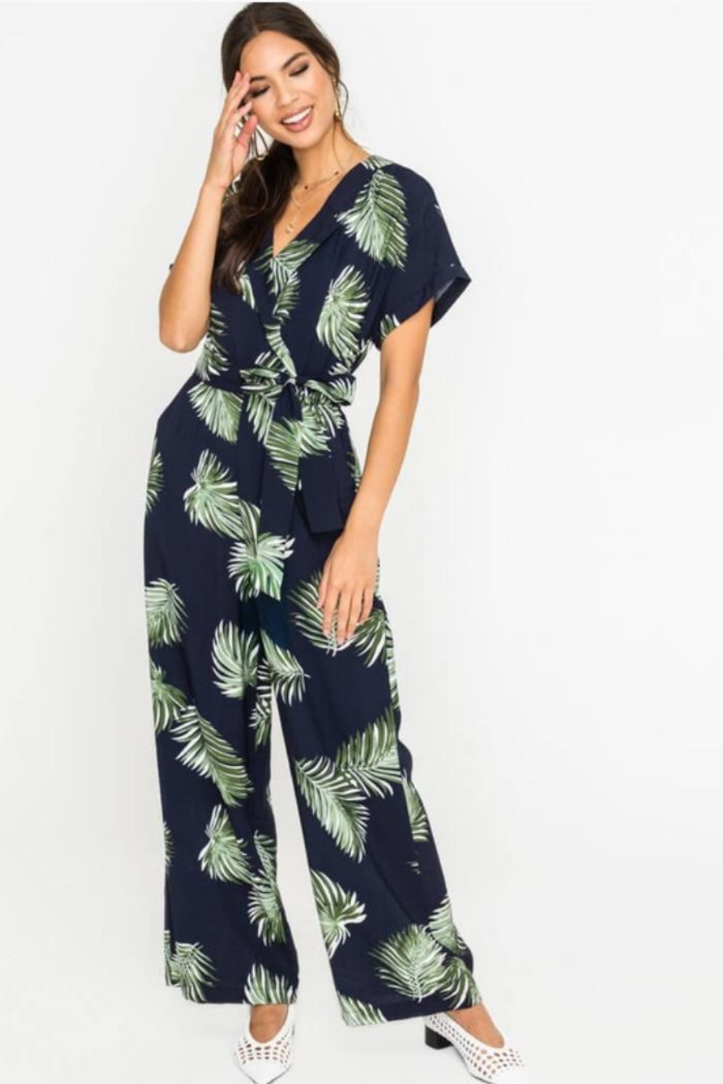 686d6c9cb37f Lush Palm Leaf Jumpsuit from North Carolina by Ivy and Leo — Shoptiques