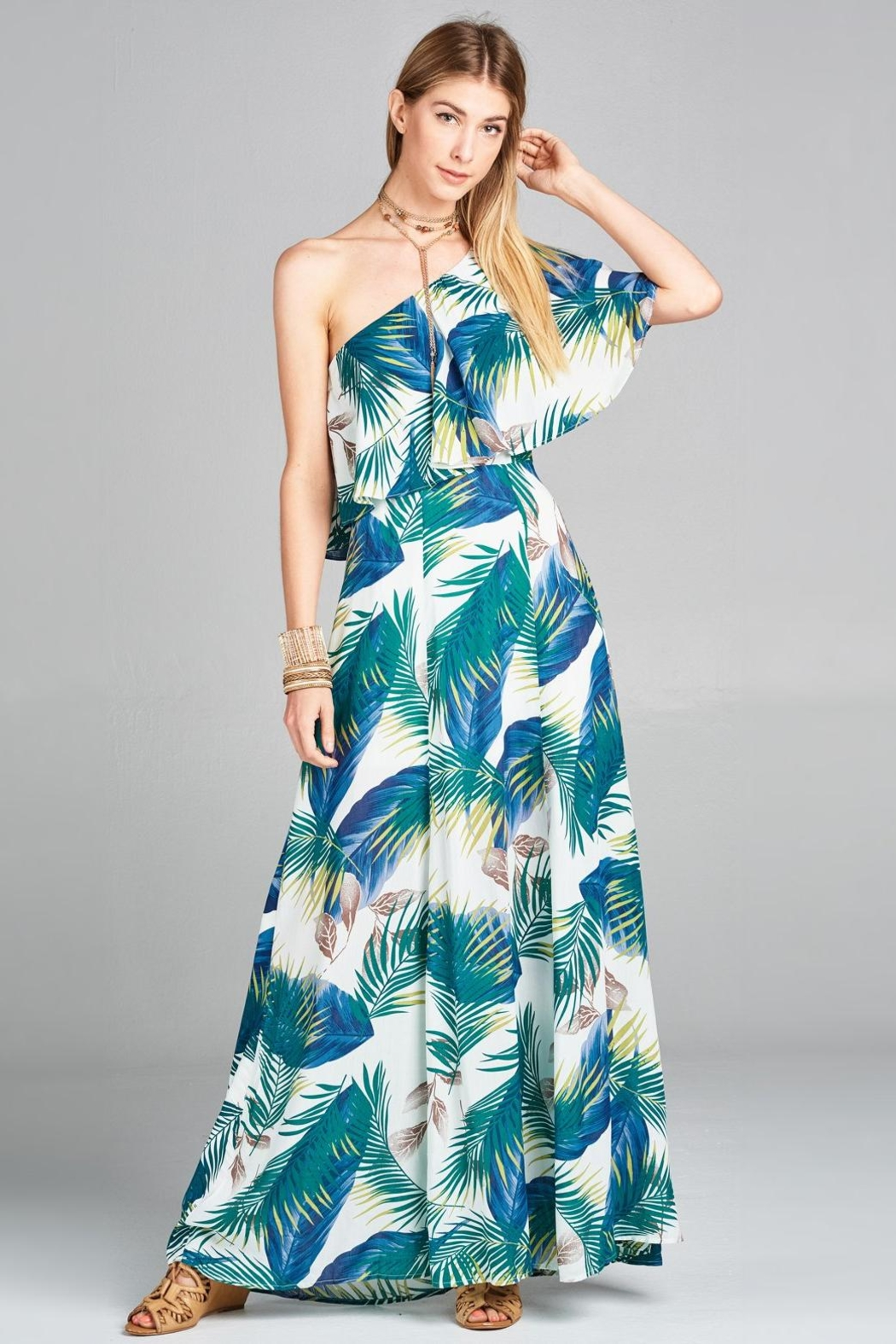 Love Kuza Palm Leaf Maxi - Front Cropped Image
