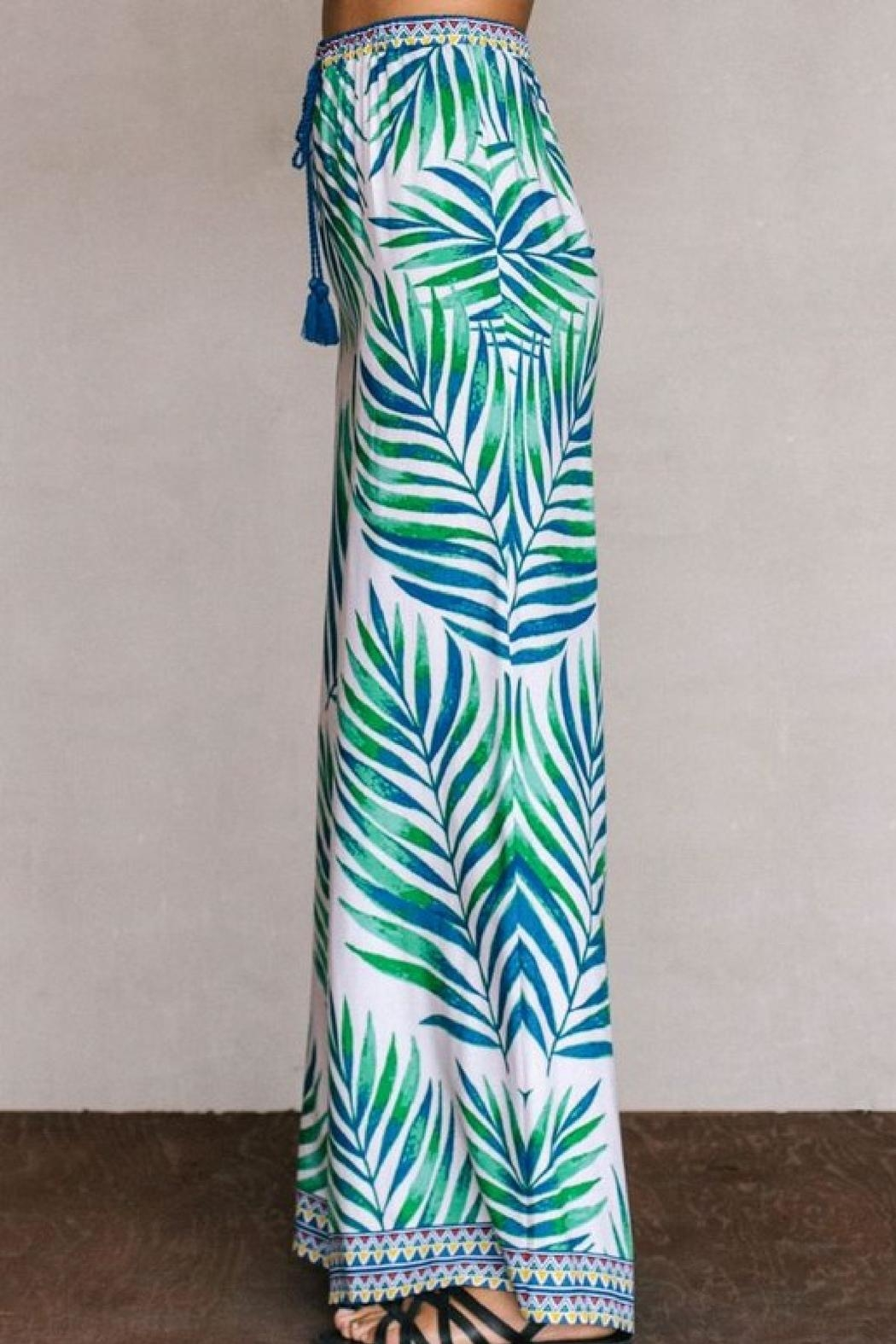 Flying Tomato Palm Palazzo Pants - Front Full Image
