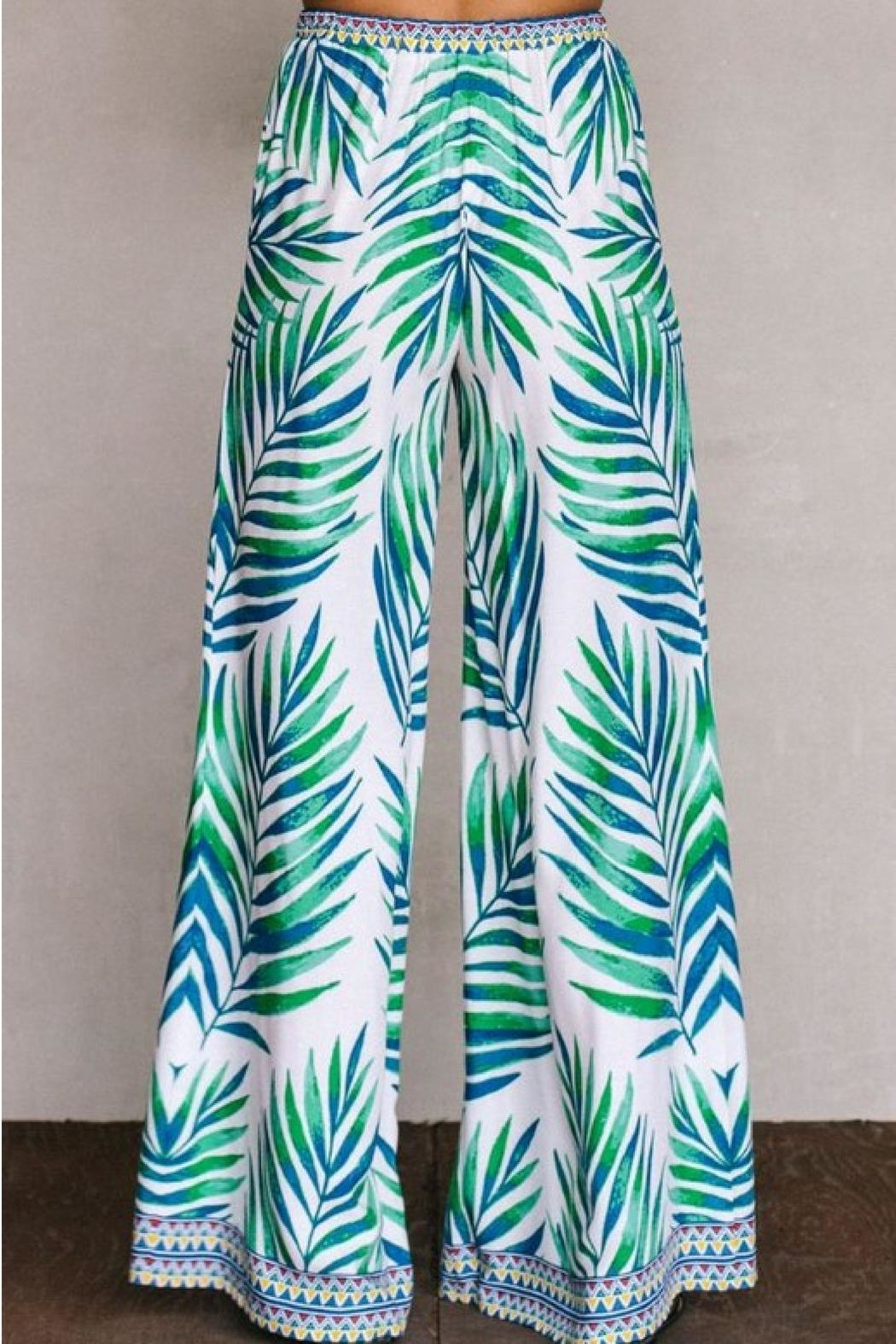 Flying Tomato Palm Palazzo Pants - Side Cropped Image