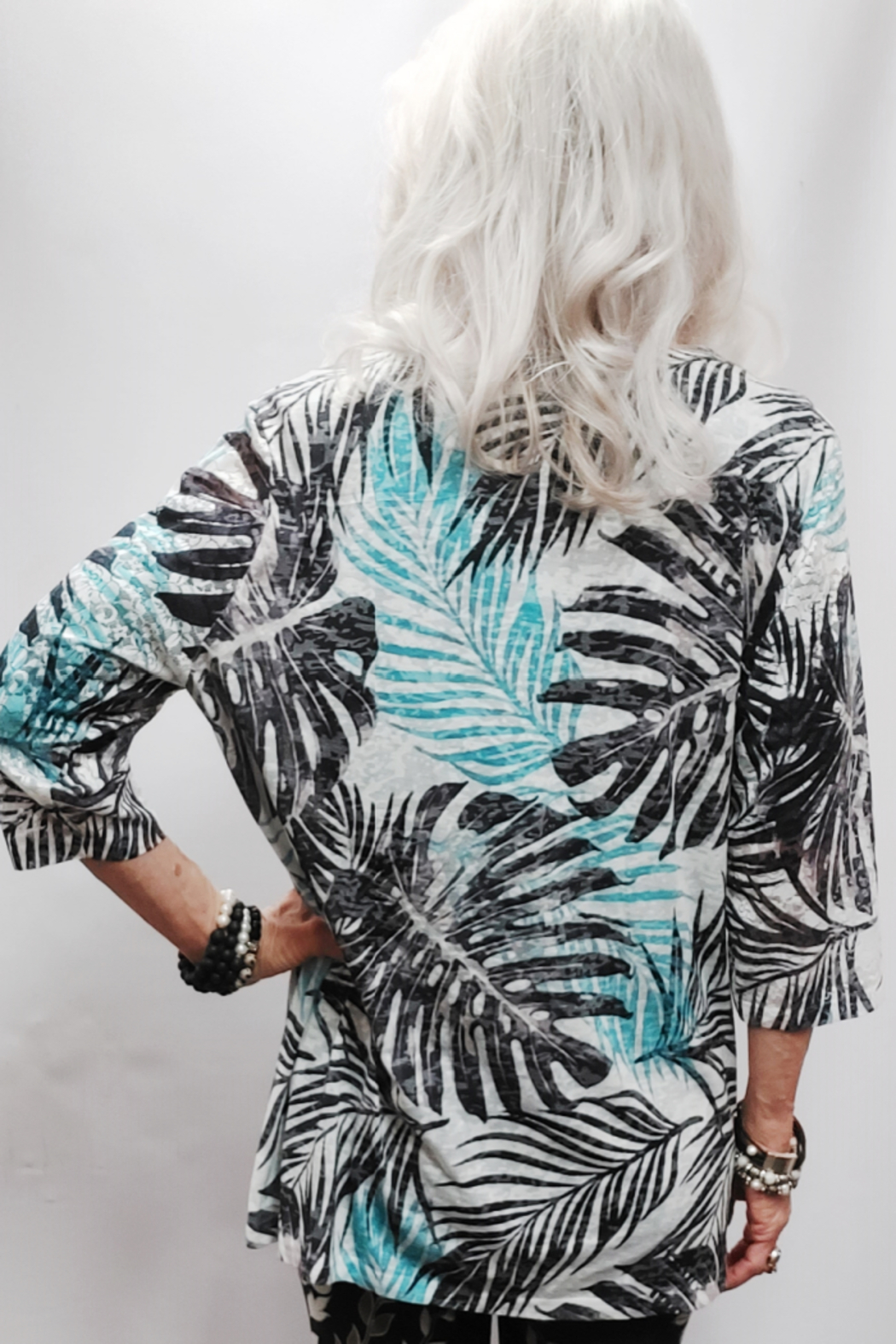 Zuriel Palm Print Rhinestone Detailed Top - Side Cropped Image