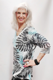 Zuriel Palm Print Rhinestone Detailed Top - Front full body