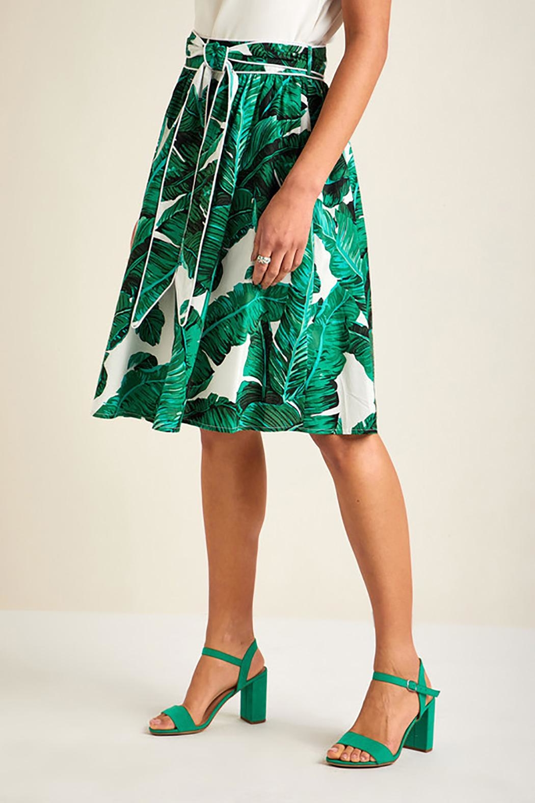 Yumi Palm Print Skirt - Front Full Image
