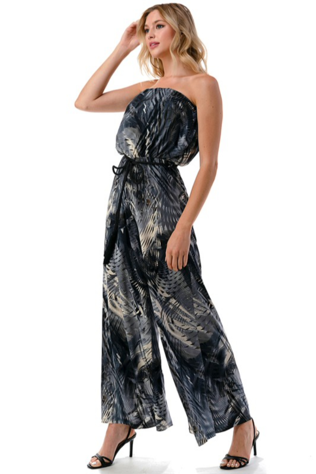 Ariella USA Palm Print Strapless Jumpsuit w Rope Belt - Front Full Image