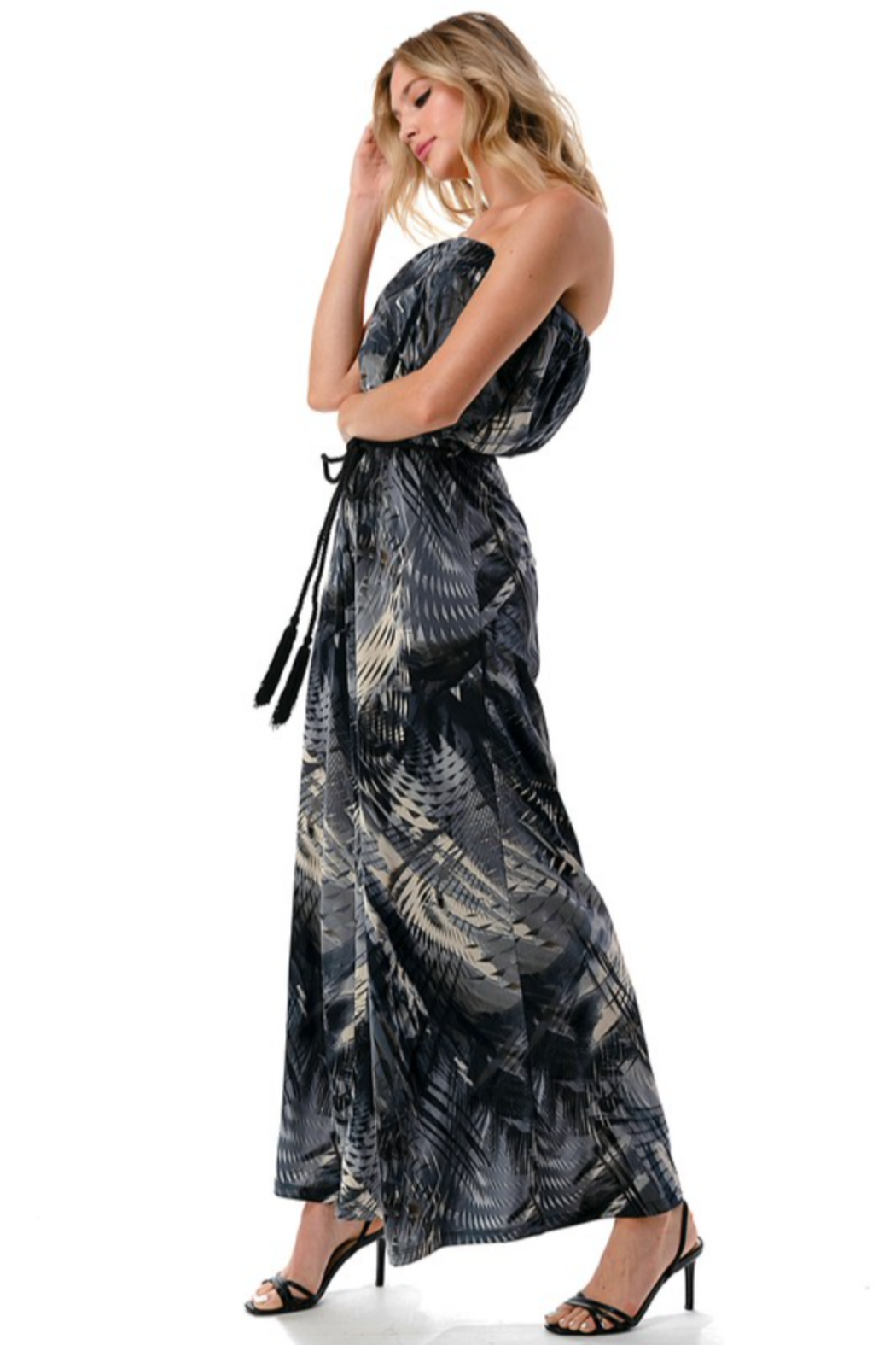 Ariella USA Palm Print Strapless Jumpsuit w Rope Belt - Side Cropped Image
