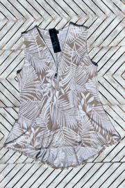 Bali Palm Print Zip Up Hi Lo Top - Side cropped