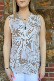 Bali Palm Print Zip Up Hi Lo Top - Front cropped