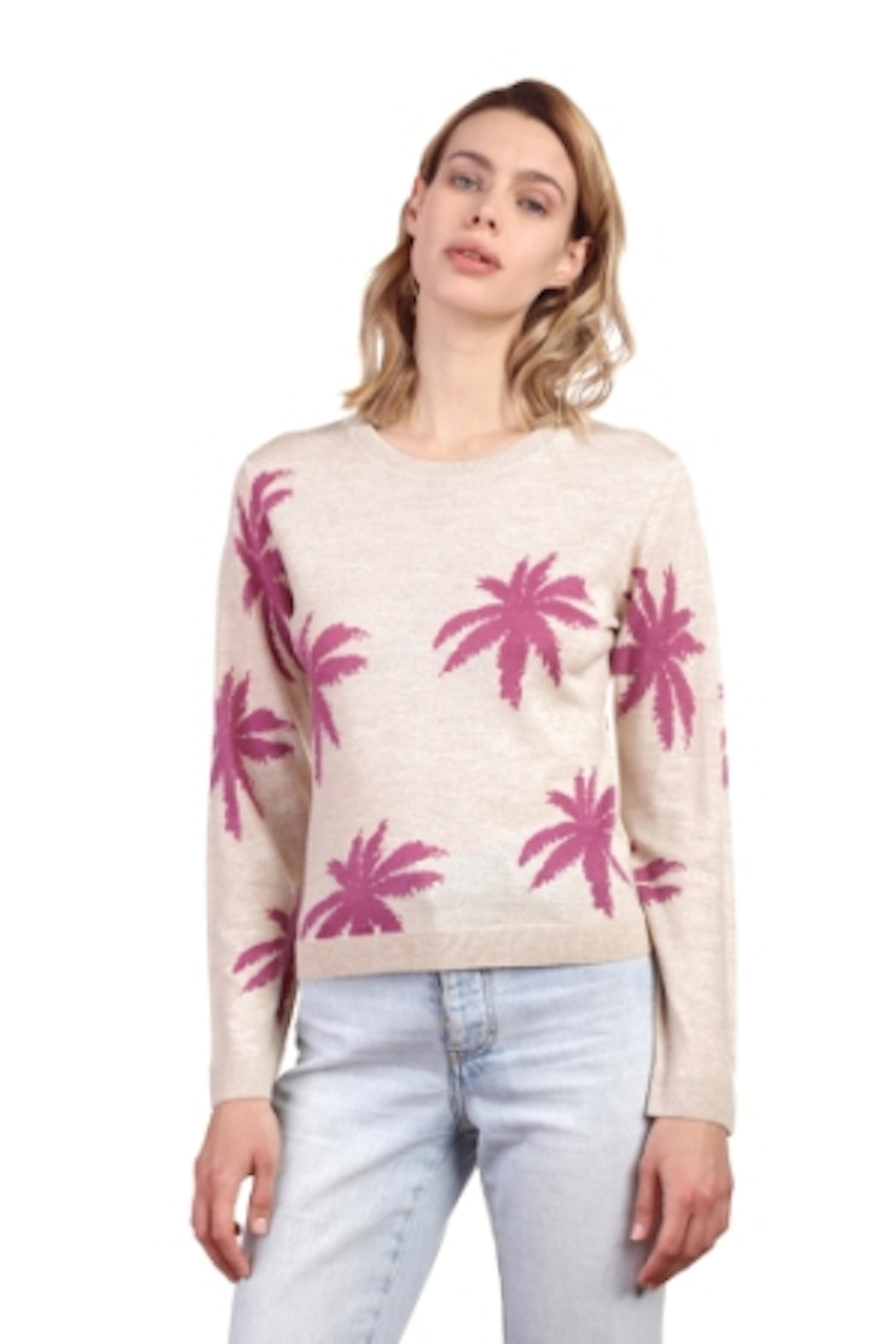 Not Shy Palm Tree Cashmere - Front Cropped Image