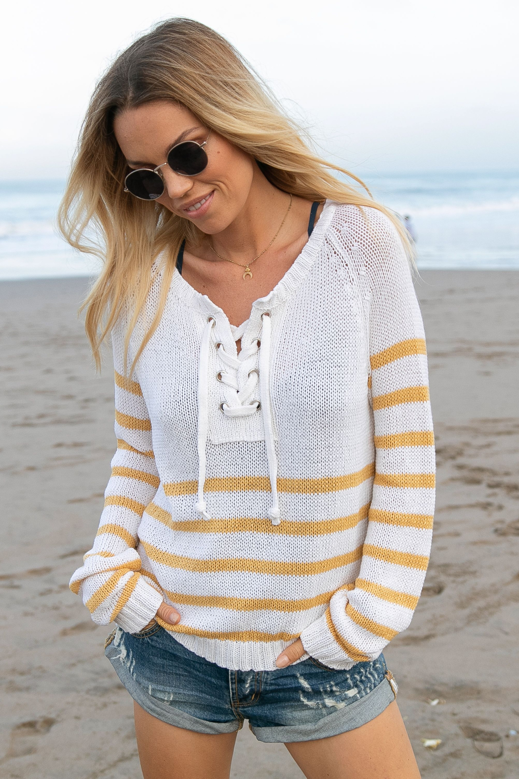 Wooden Ships Palmer Laced Cotton Top - Front Full Image