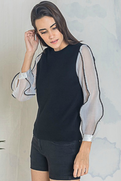 Shoptiques Product: Paloma Knit w Contrast Sheer Sleeves