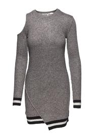 Pam & Gela Grey Long Sleeve Dress - Front cropped