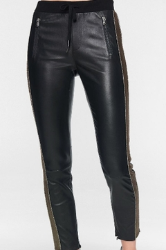 Shoptiques Product: Leather-Leggings W/ Pewter-Side-Stripe
