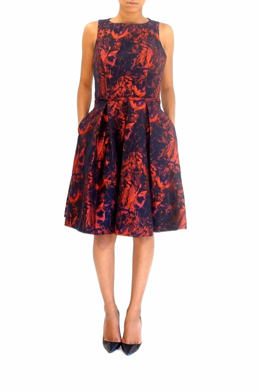 Pamella Roland Jacquard Party Dress - Front Cropped Image