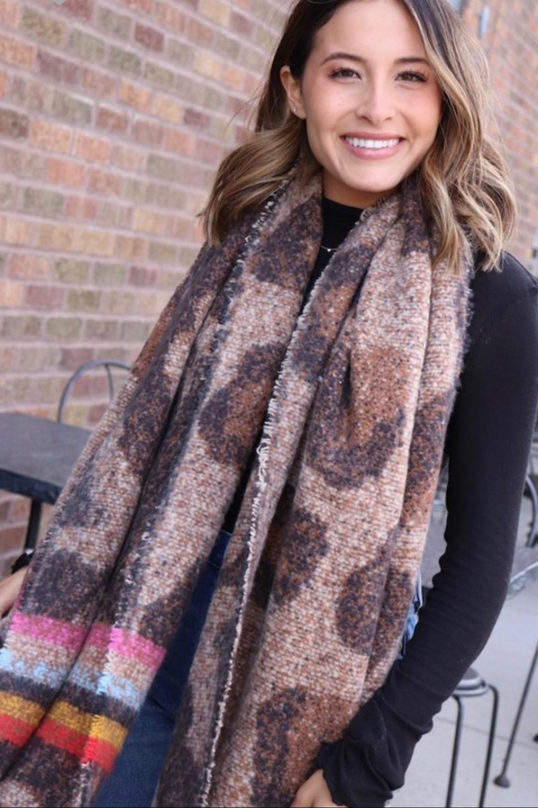 Panache Long Fringe Scarf - Side Cropped Image