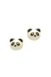 Girl Nation  Pandatastic 14K Gold Stud Earrings - Front cropped
