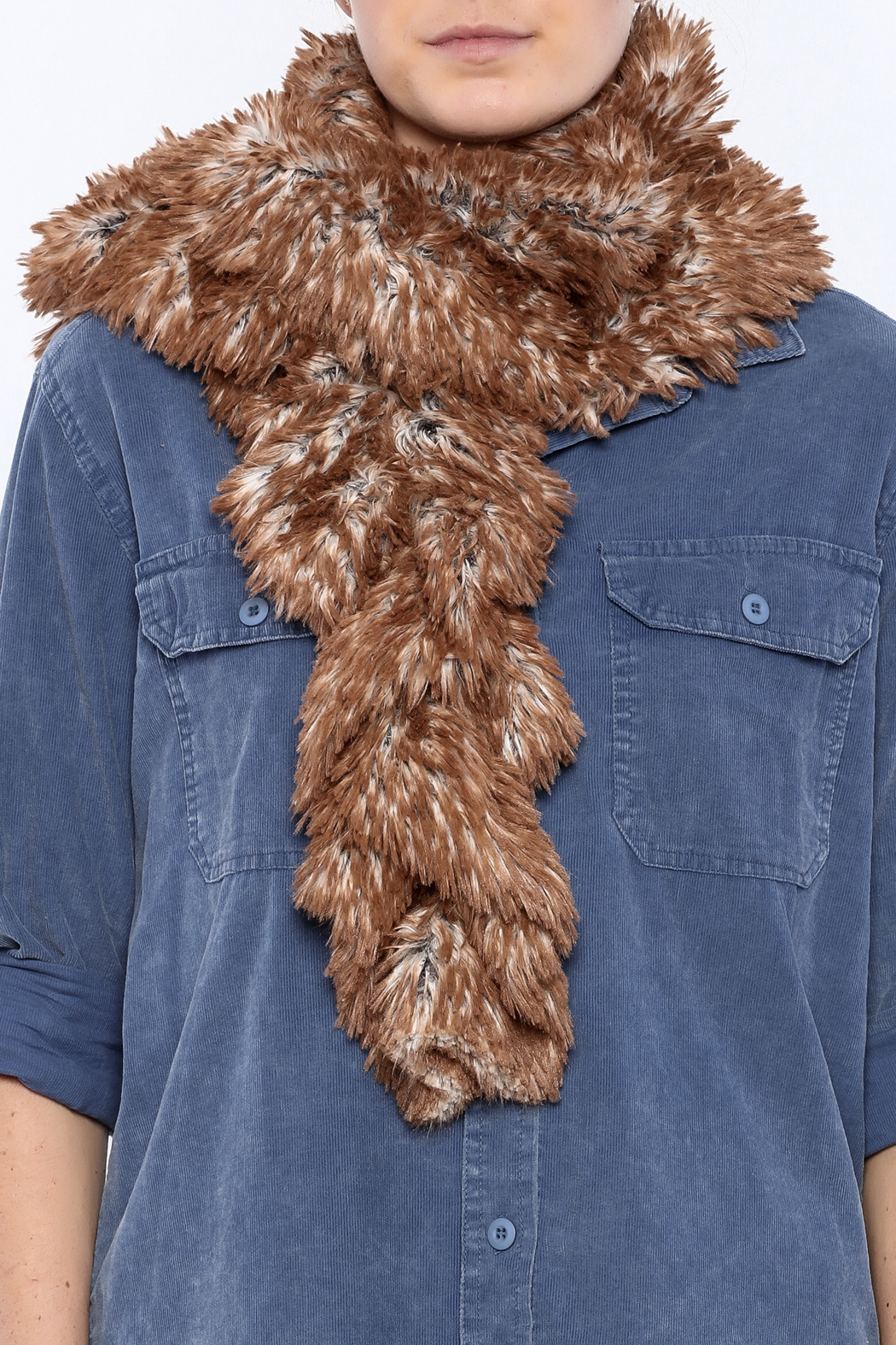 Pandemonium Millinery  Scrunched Faux Fur Scarf - Back Cropped Image