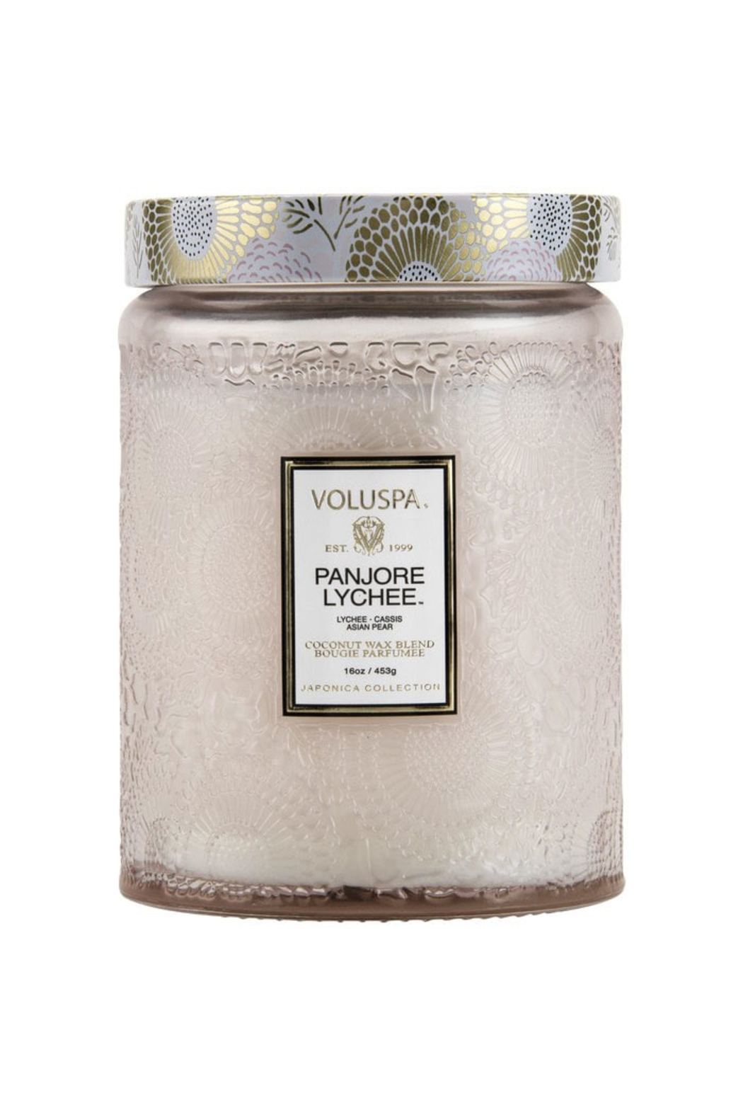 Voluspa Panjore Lychee Large Embossed Glass Jar Candle - Front Full Image