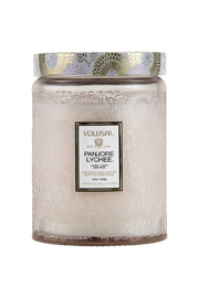 Voluspa Panjore Lychee Large Embossed Glass Jar Candle - Front full body