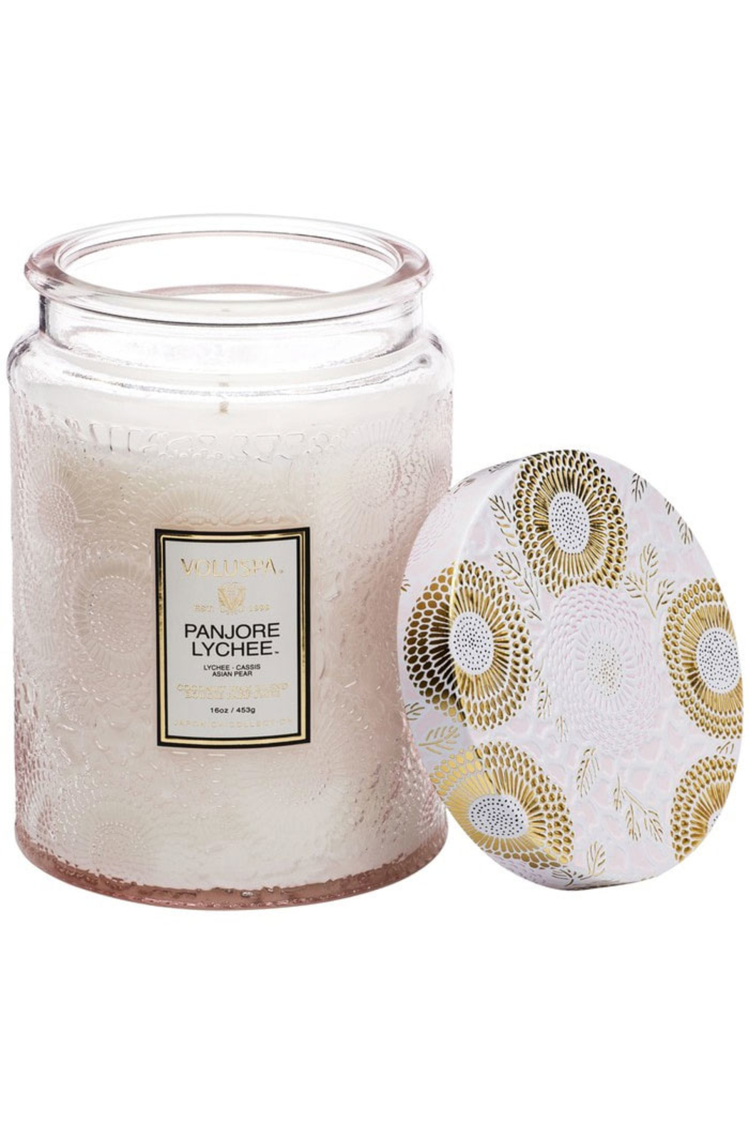 Voluspa Panjore Lychee Large Embossed Glass Jar Candle - Main Image