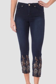 Joseph Ribkoff Pant with Floral Embroidered Legs - Product Mini Image