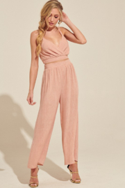 blue blush Pants and Cami Crop Set - Front cropped