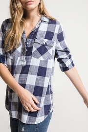 White Crow Paola Plaid Half Button Up - Product Mini Image