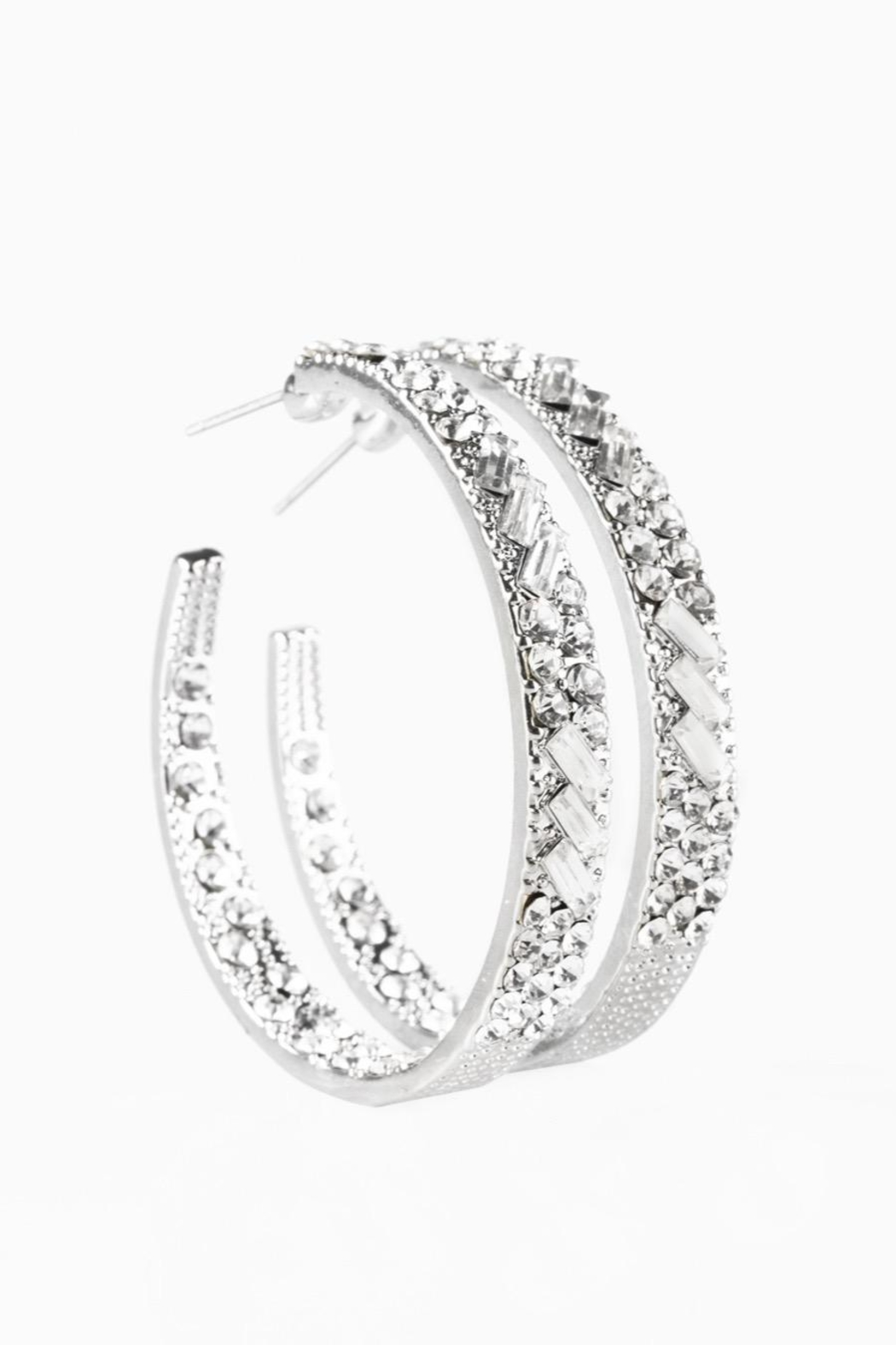 Paparazzi Blinged Hoops In Silver - Main Image