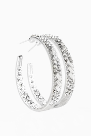 Paparazzi Blinged Hoops In Silver - Front cropped